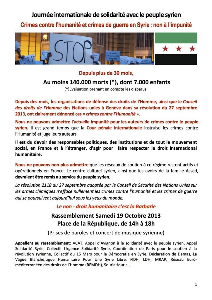 Affiche Syrie Manif Paris oct 2013