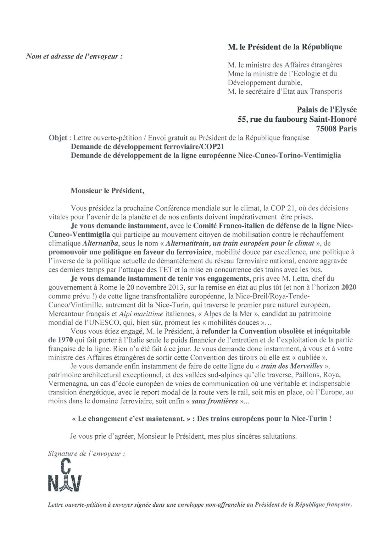Lettre ouverte-Petition pour le développement de la ligne Nice Turin